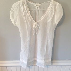 White Sheer Cotton Silk Top